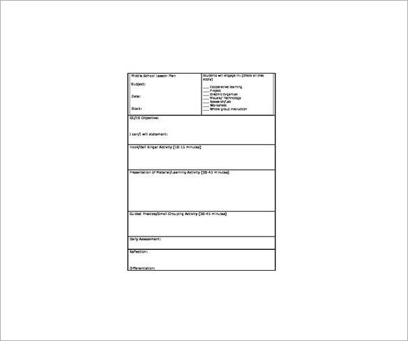 Middle School Lesson Plan Template – 7+ Free Word, Excel, PDF ...