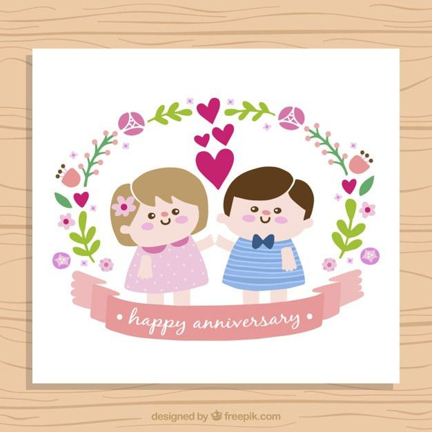 Nice children couple anniversary card Vector | Free Download