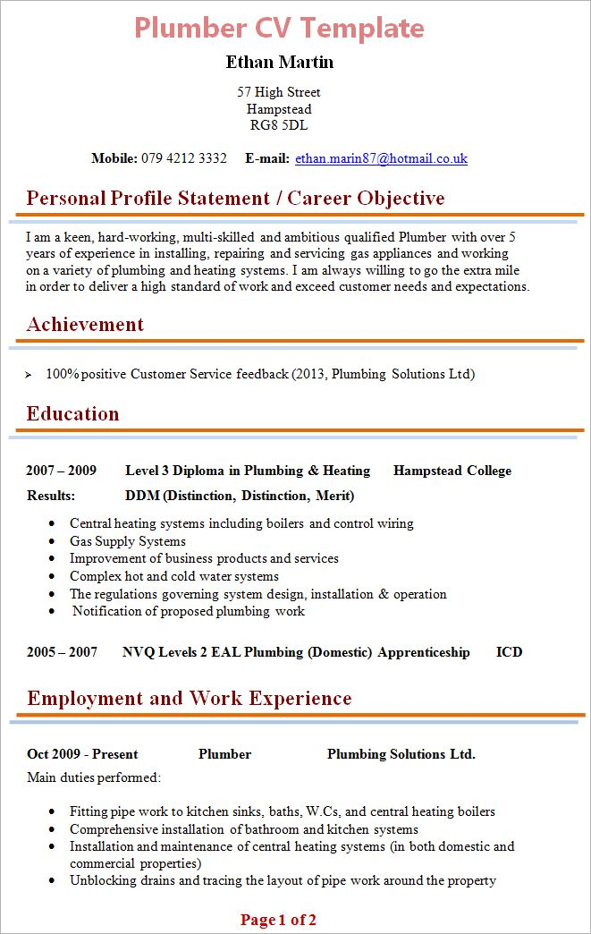Plumber CV Template + Tips and Download – CV Plaza