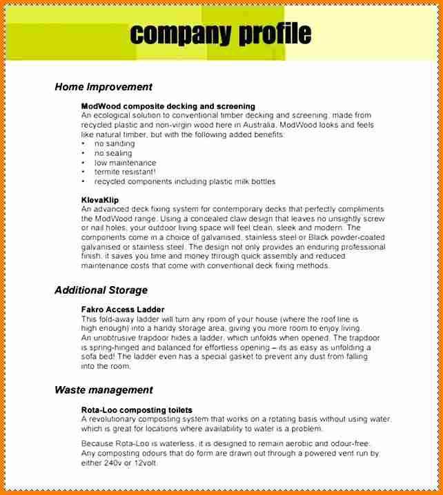 Sample Of Company Profile - Template Examples