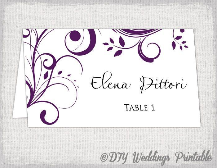 Place card template Eggplant Scroll name cards DIY