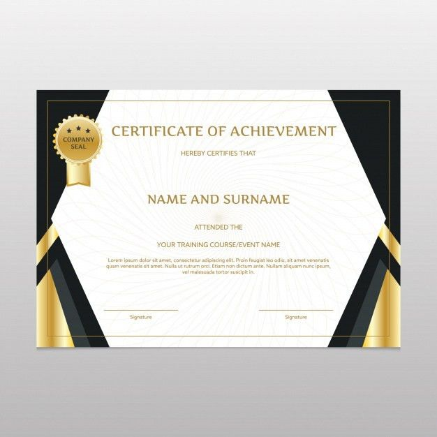 Black and gold certificate of achievement Vector | Free Download