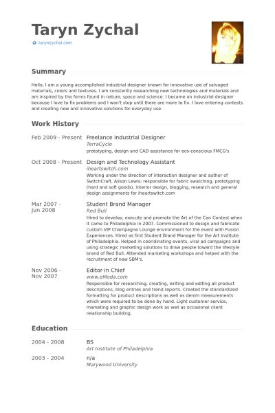 Industrial Designer Resume samples - VisualCV resume samples database