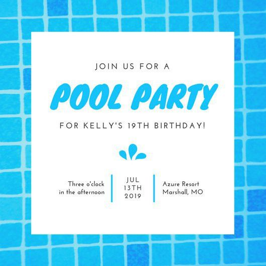 Pool Party Invitation Templates - Canva