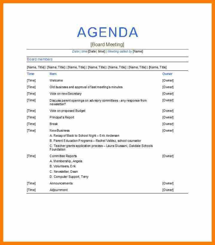 8+ samples of meeting agendas | science-resume