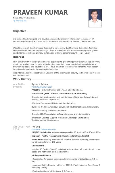 Lotus Notes Administration Sample Resume Example Lotus Notes