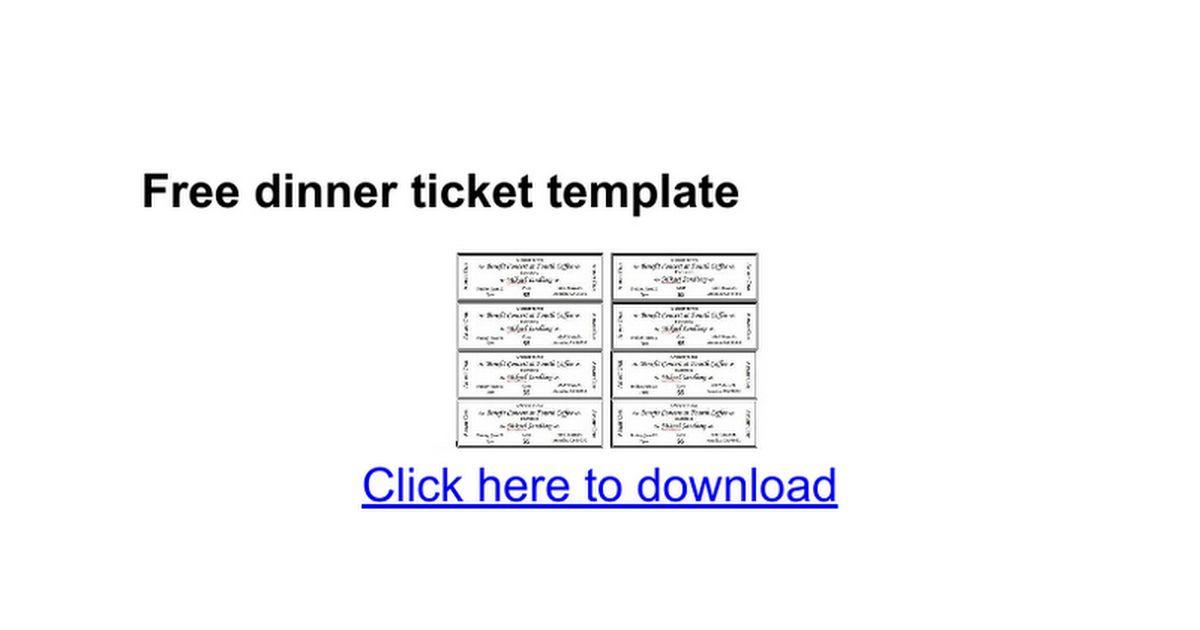 Free dinner ticket template - Google Docs