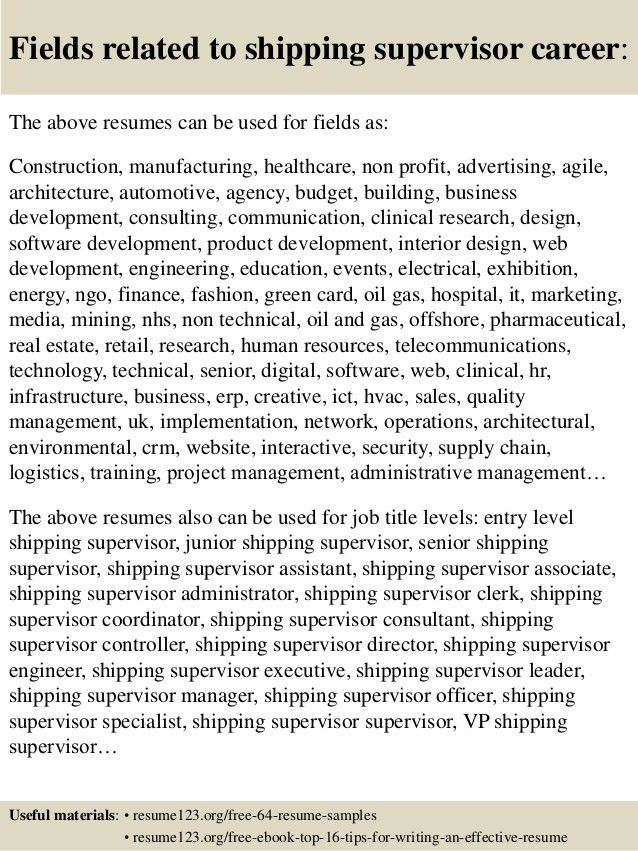Top 8 shipping supervisor resume samples