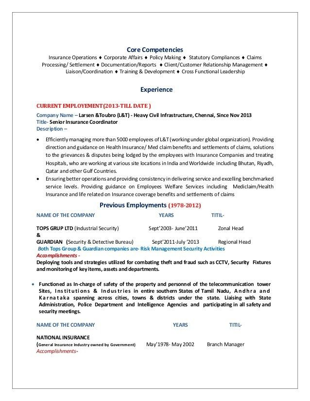 CV with covering letter - Senior Insurance Coordinator-05-11-2015