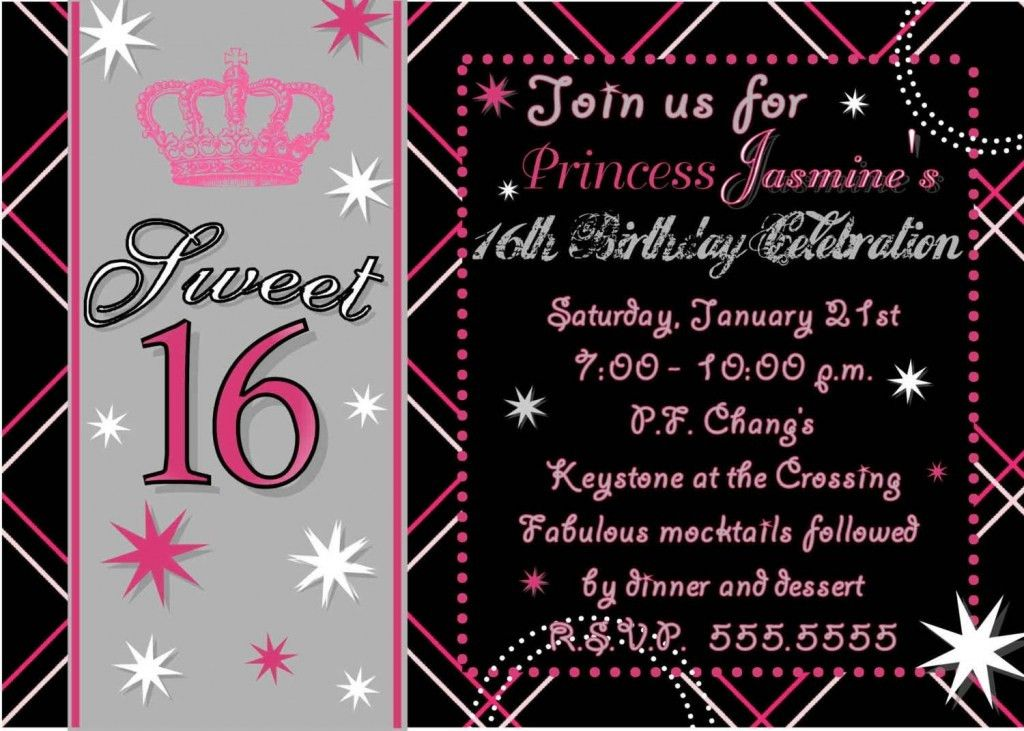 16th Birthday Party Invitations Templates Invitation For 16th ...