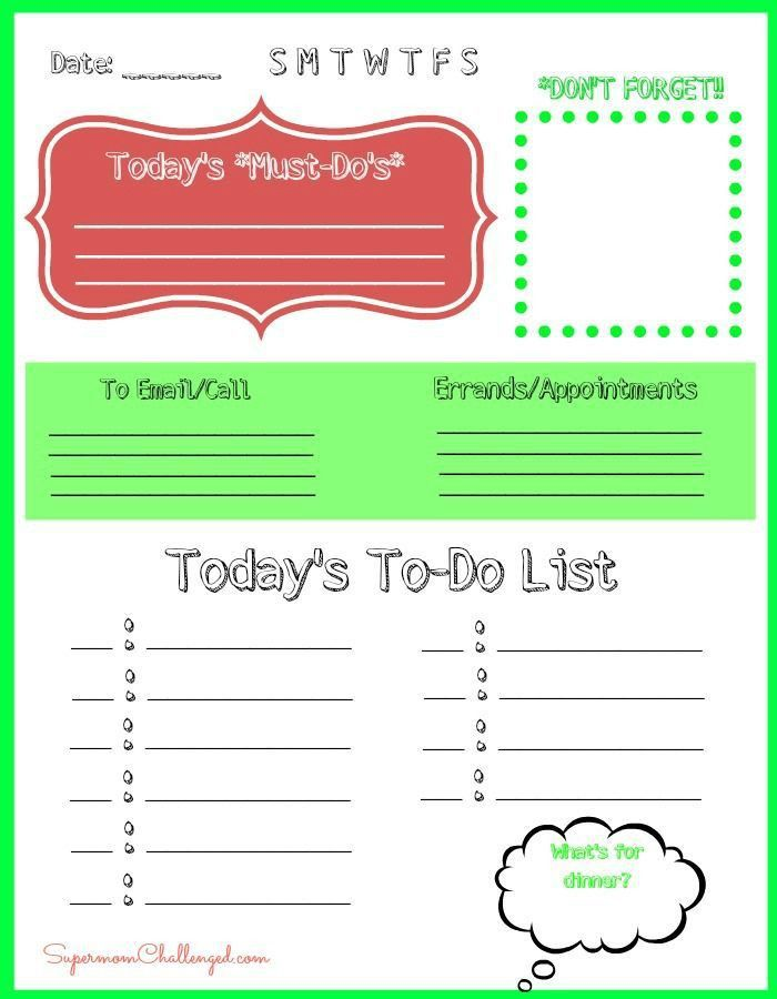 Free Printable Daily To Do List Template : Selimtd