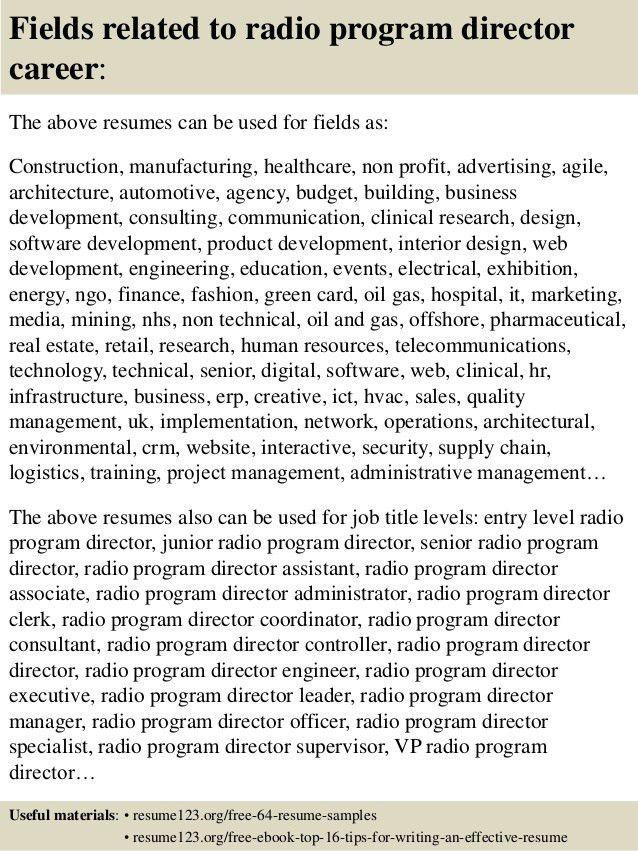 Top 8 radio program director resume samples