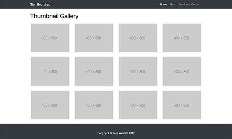 Thumbnail Gallery - Bootstrap 4 Image Gallery - Start Bootstrap