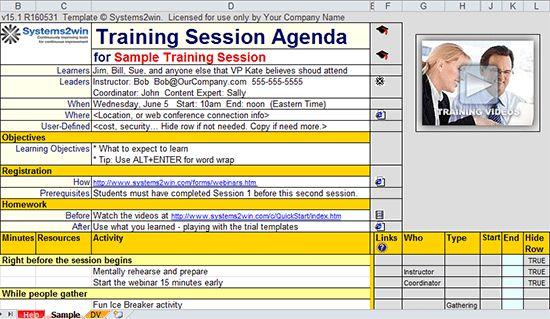 Training Plan template - Training Agenda template, Training ...