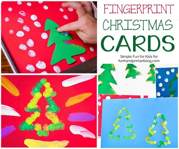 Fingerprint Christmas Tree Cards with Templates - Fun Handprint Art