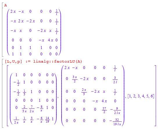 wolframalpha - how do I do a symbolic LU decomposition on a 6x6 ...