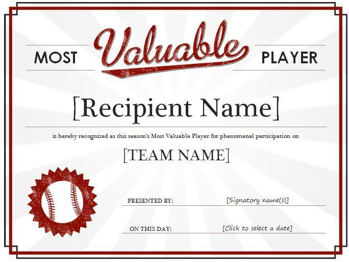Most Valuable Player Award Certificate Template | Formal Word ...