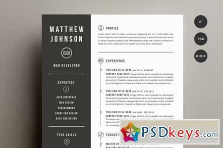 Resume & Cover Letter Template 141501 » Free Download Photoshop ...