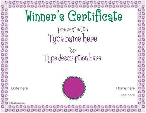 Winner Certificate Template : Helloalive