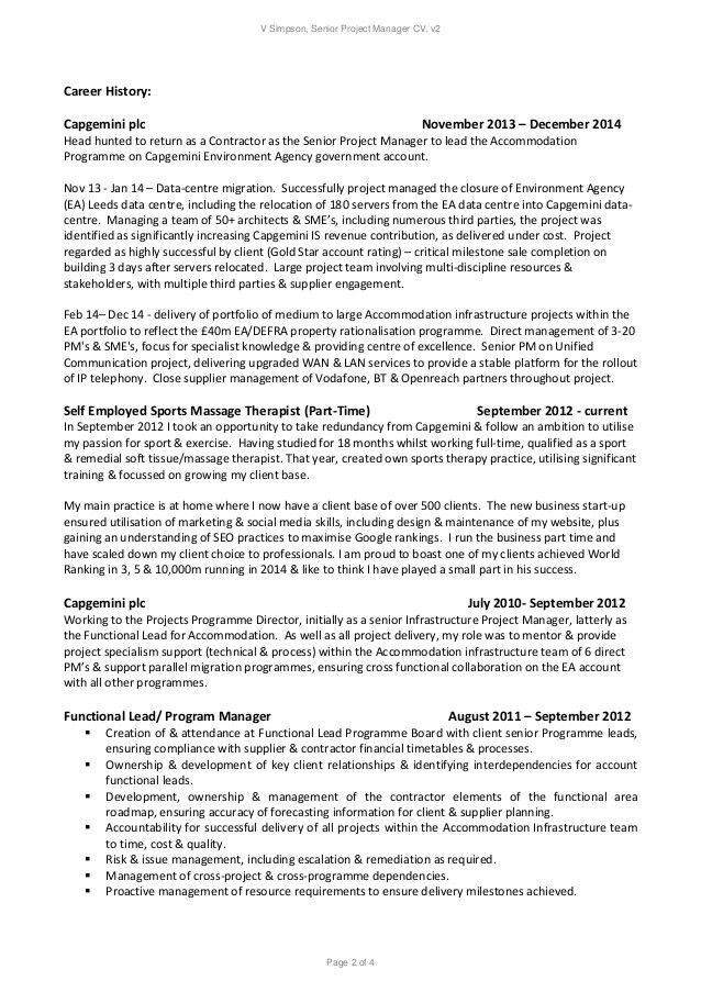 Awesome Idea Technical Project Manager Resume 2 Technical Resume ...