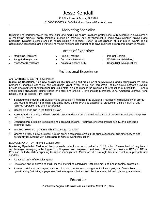 marketing specialist resume sample click here to download this