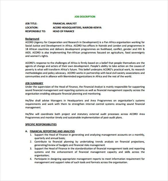 10+ Financial Analyst Job Description Templates - Free Sample ...