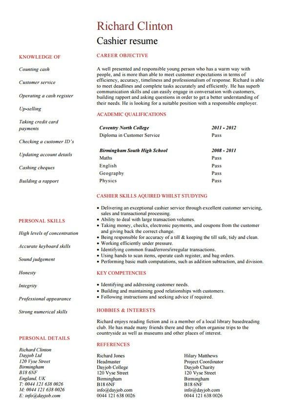 cashier resume template. chronological resume template ...