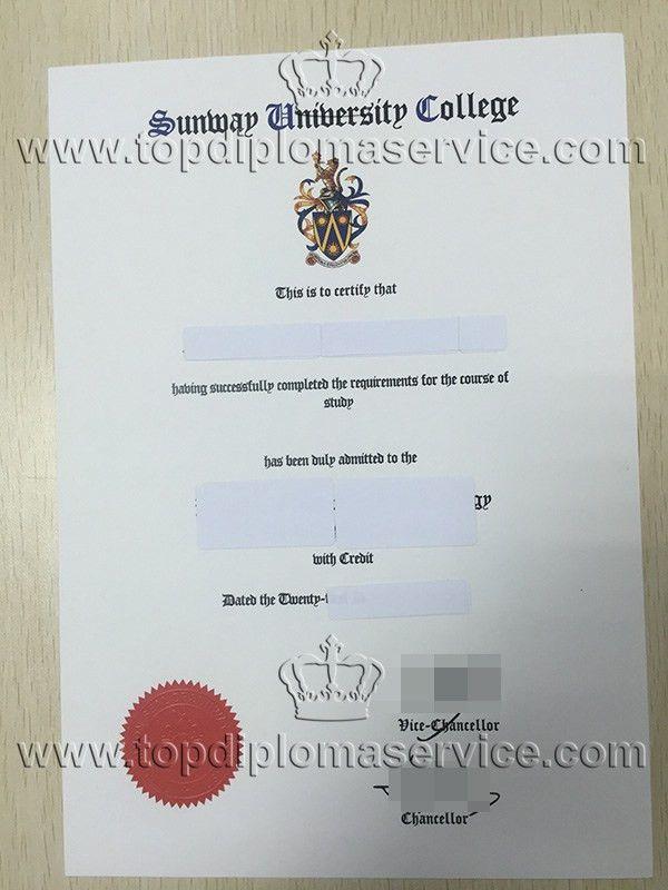 buy Sunway University college degree cert, make fake diploma_buy ...