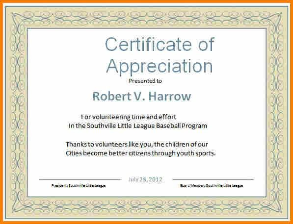 Certificate Of Appreciation Word Template Word Certificate Template