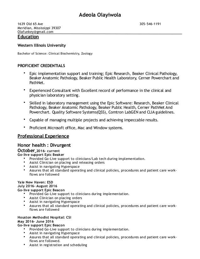 epic beaker resume 2 update - Epic Consultant