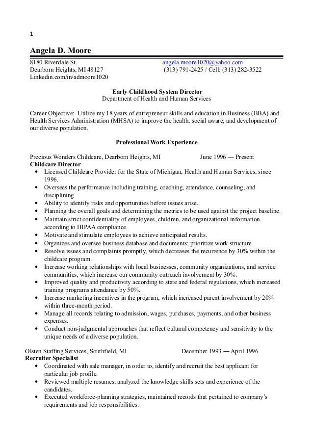 sample resume assistant director day care sample assistant child ...