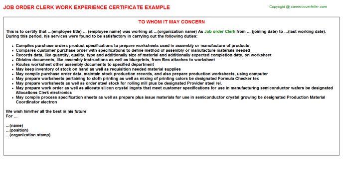 Job Order Clerk Work Experience Letters