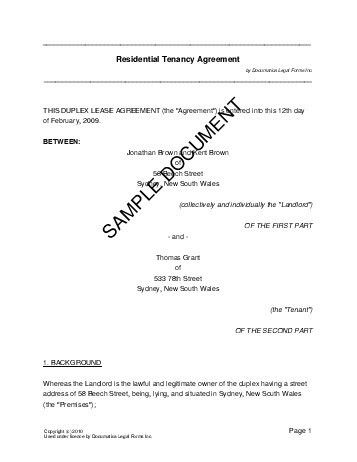 Residential Rental/Lease (Australia) - Legal Templates ...