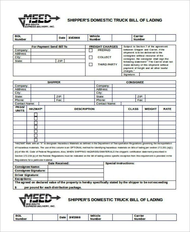 Bill Of Lading Templates - Contegri.com