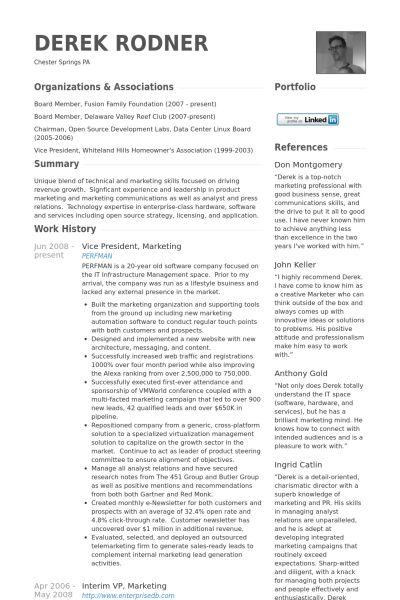 Vice President, Marketing Resume samples - VisualCV resume samples ...