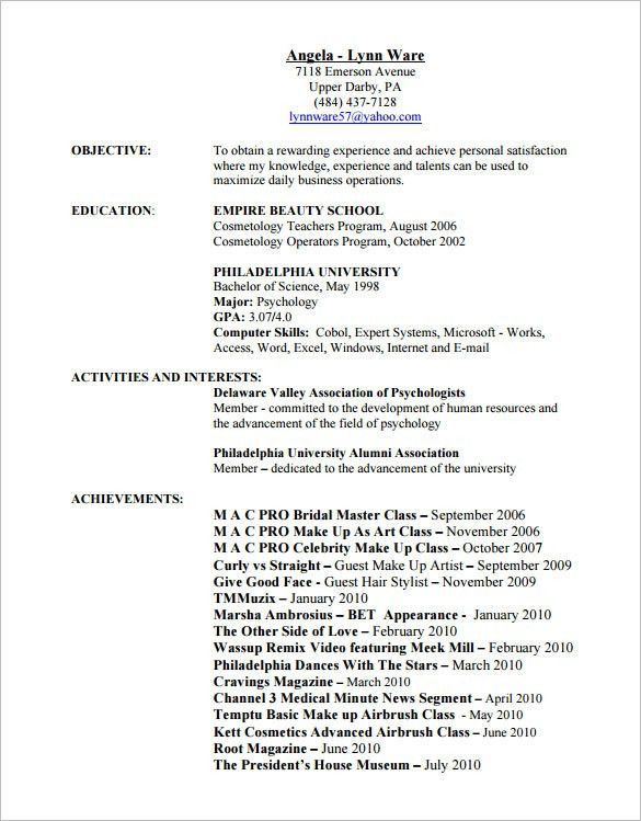 Resume Examples For Hairstylist. Business Resume Examples Business ...