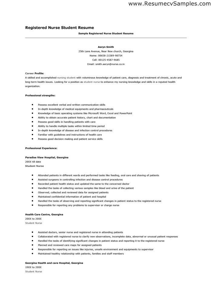 sample nursing student resume objectives student nurse resume ...