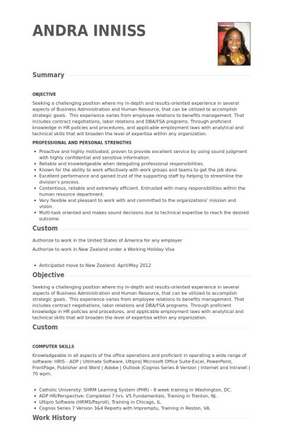 Hr Specialist Resume samples - VisualCV resume samples database
