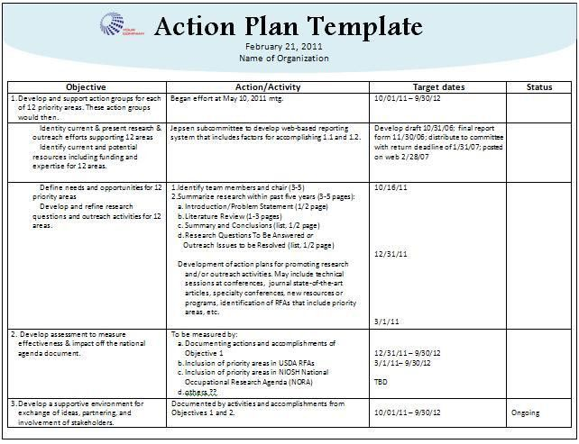 Qualified Template Word of Action Plan with Logo Space and Table ...