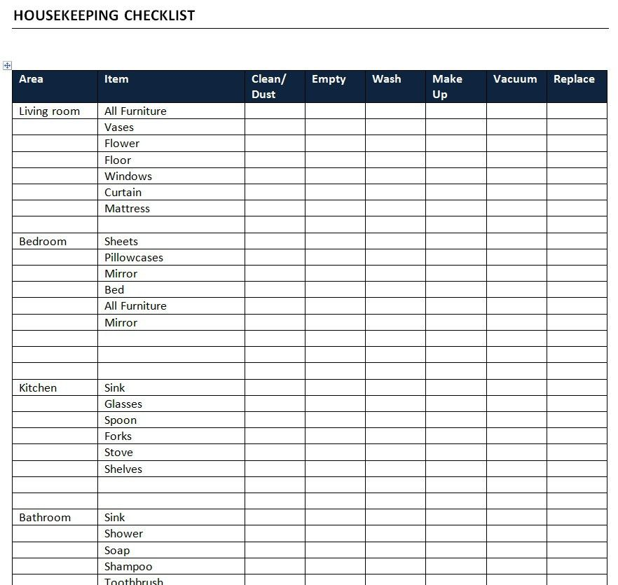 Housekeeping Checklist Template Free Microsoft Word Templates ...