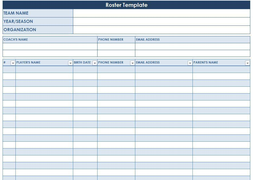 Roster Template | Team Roster Template