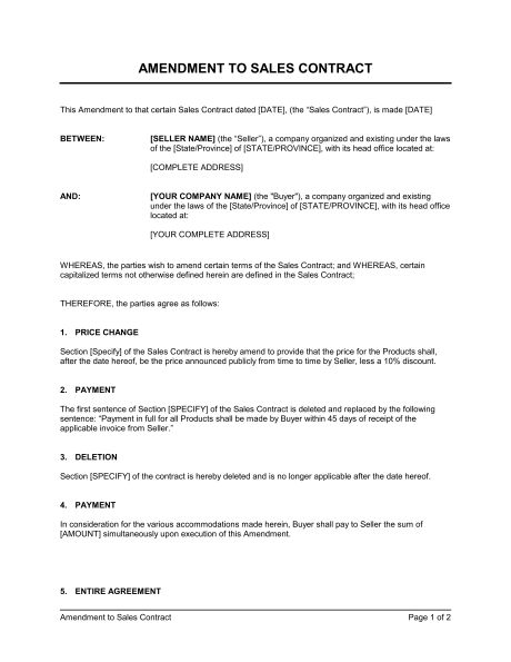 Amendment to Sales Contract - Template & Sample Form | Biztree.com