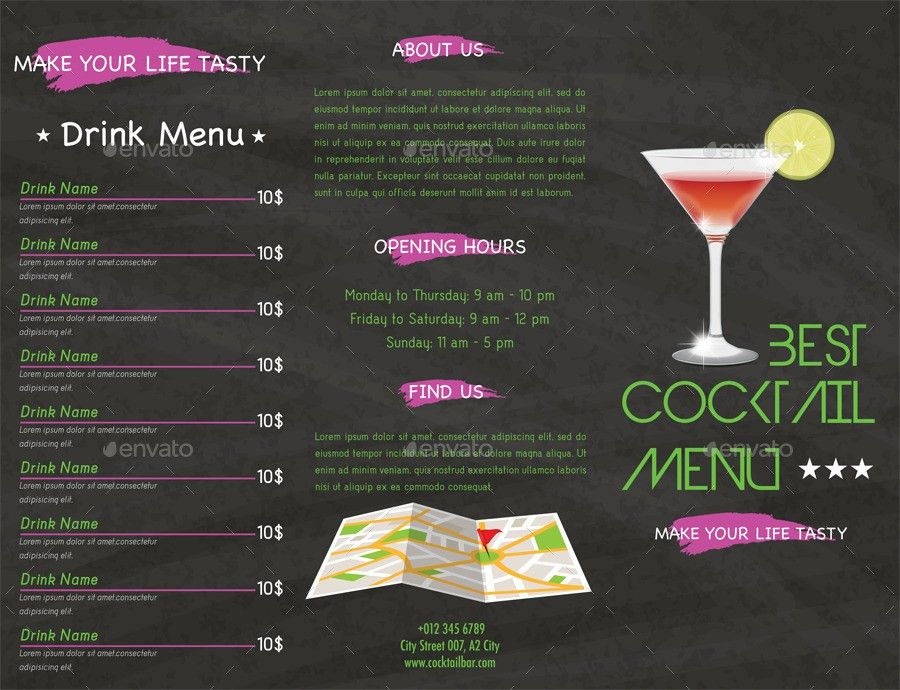 Cocktail Menu by Kukidizajn | GraphicRiver