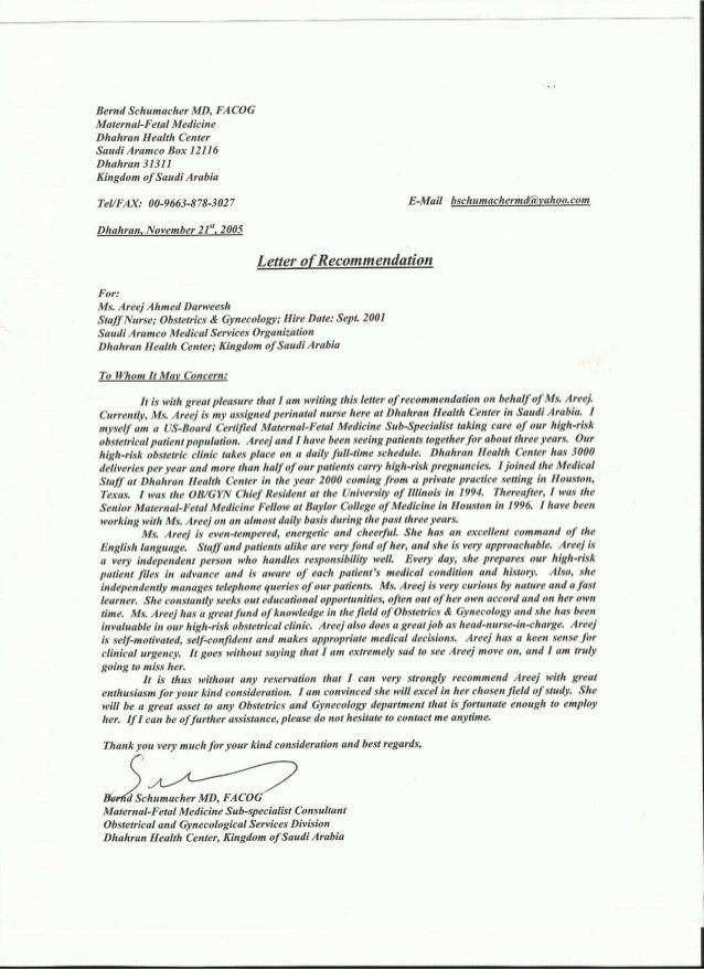 Recommendation Letter Medical Doctor | templates free printable