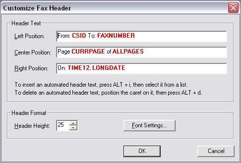 Custom Fax Header