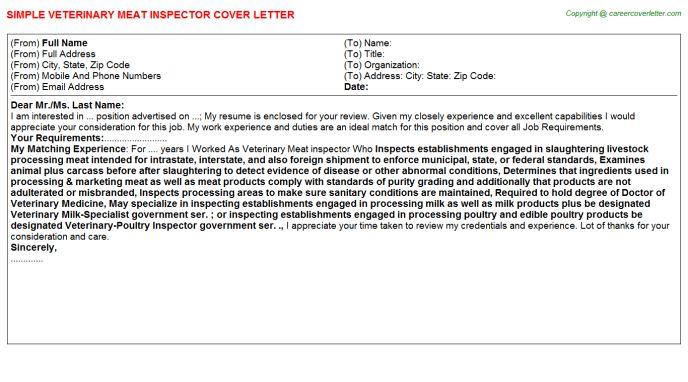 Veterinary Meat Inspector Cover Letter