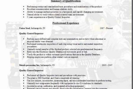Resume Of QA QC Electrical Inspector - Reentrycorps