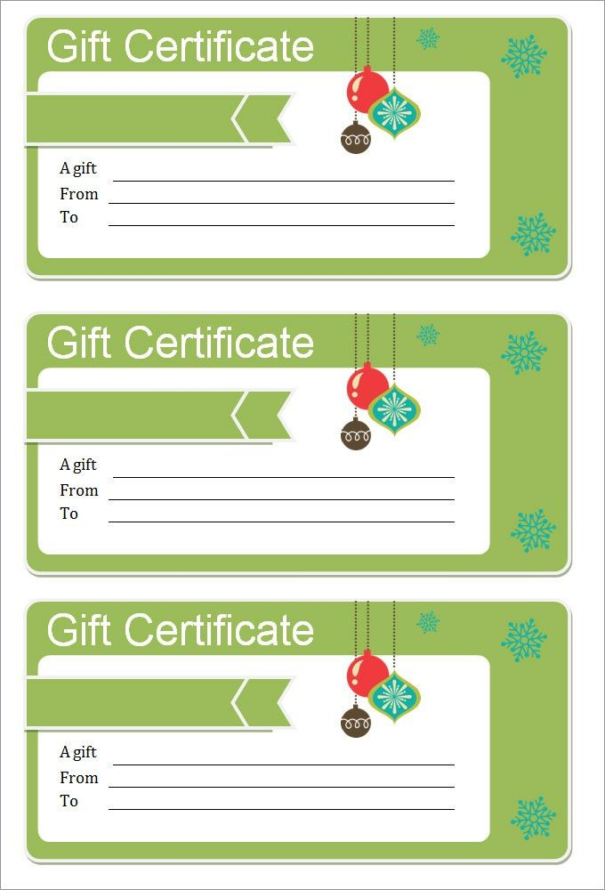 Blank Christmas Coupon Template Design with Green Color : Helloalive