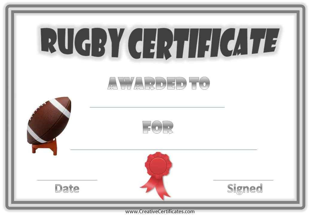 Rugby Award Certificate