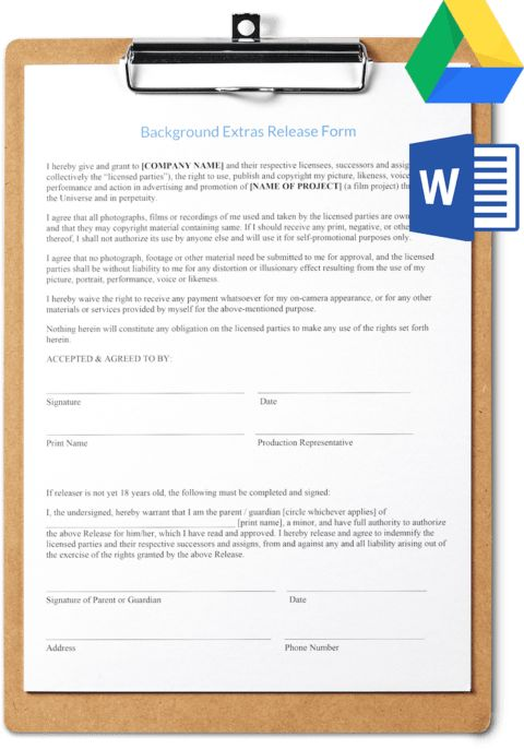 Extras Release Form Template Free Download | SetHero Call Sheet ...